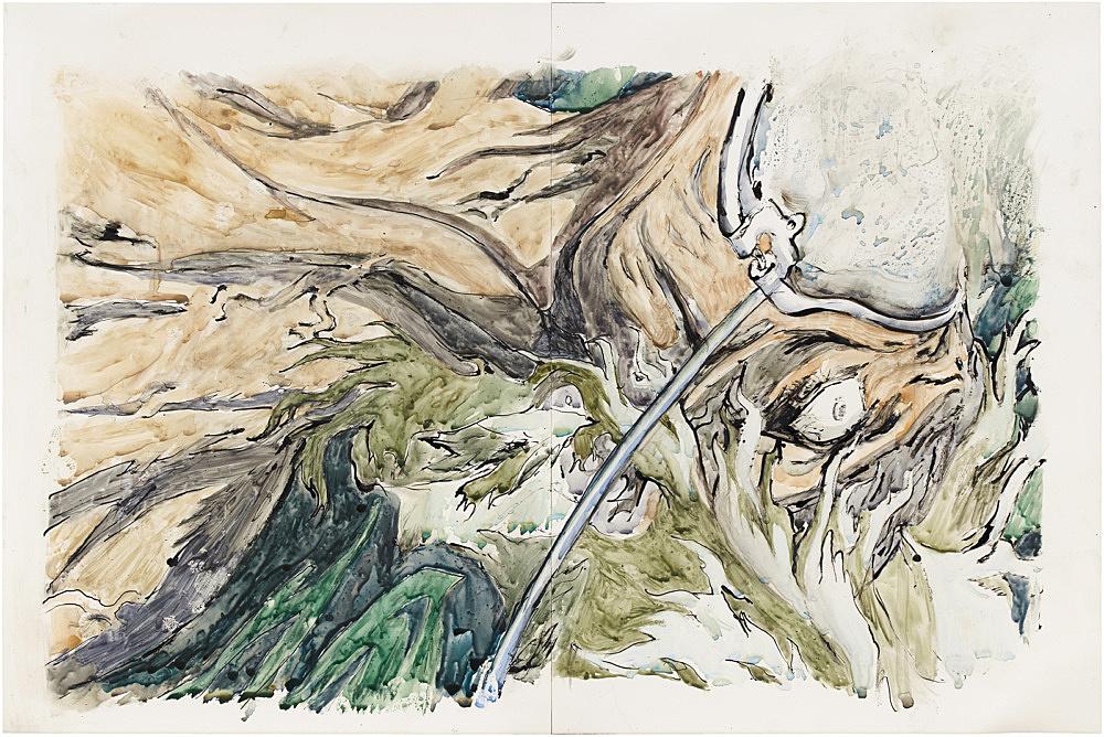 "Stewart Uoo – ""Vampire Transfusion (after Yoshiaki Kawajiri)"", 2019 sumi ink, watercolor on polypropylene paper 30.5 x 45.5 cm"