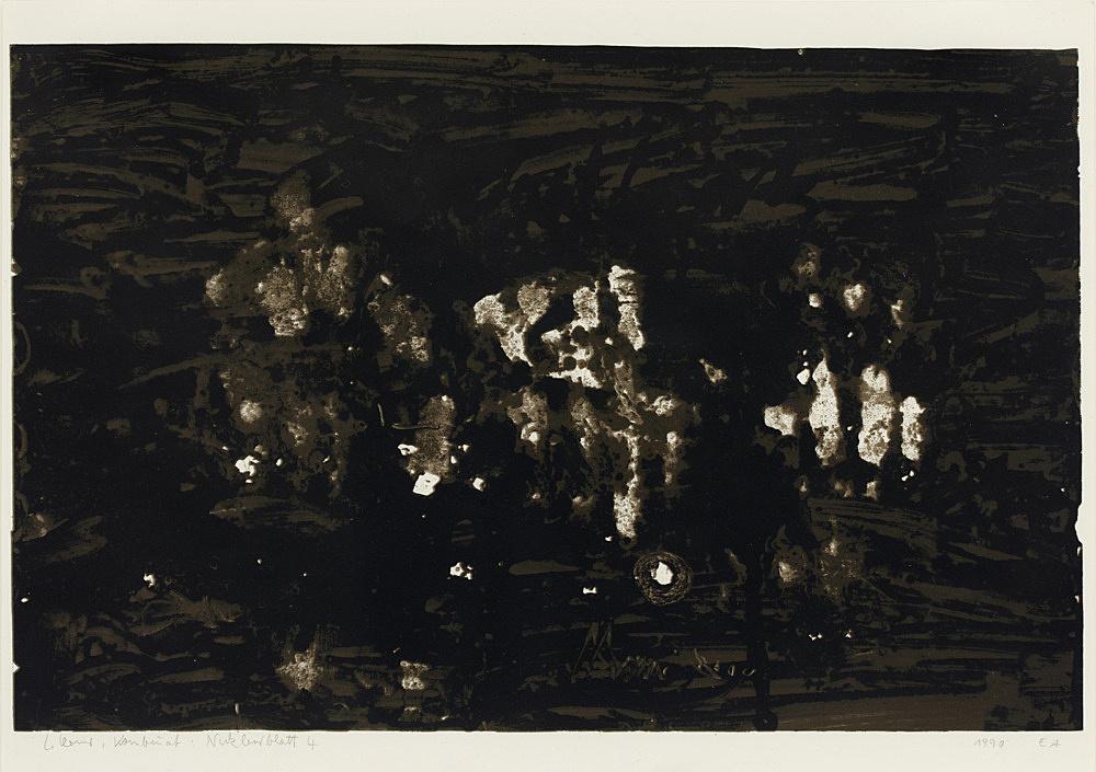 "Carlfriedrich Claus – ""Kombinat Nuklearblatt 4"", 1990 serigraph image: 26 x 40.5 cm"