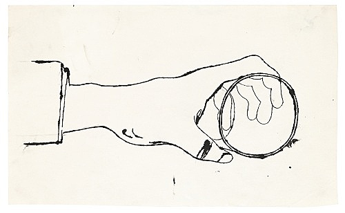 "Andy Warhol – ""Hand holding a Cup"", ca. 1956 ink on paper 33 x 20 cm"