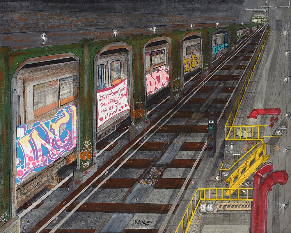 "Luis Inca Ramos – ""Mystery Tunnel"", 2015 acrylic and mixed media on canvas 61 x 76 cm"