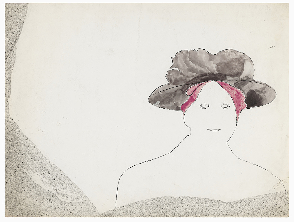 "Andy Warhol – ""Woman with Purple Hat (small)"", ca. 1953 ink and tempera on paper 31.75 x 40 cm"