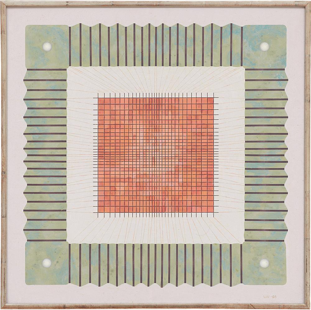 "Ulla Wiggen – ""Magnetiskt Minne"", 1968 acrylic on wood panel 52 x 52 cm"