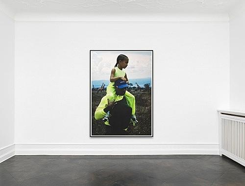 "Heji Shin – ""Kanye and North in Uganda"", 2018 inkjet print, framed 224 x 160 cm (framed: 233 x 169 x 5 cm) installation view Galerie Buchholz, Berlin 2019"