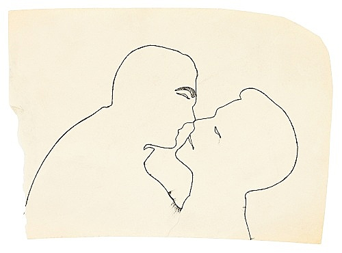"Andy Warhol – ""Kissing Couple"", ca. 1954 ink on paper 16.8 x 23.5 cm"