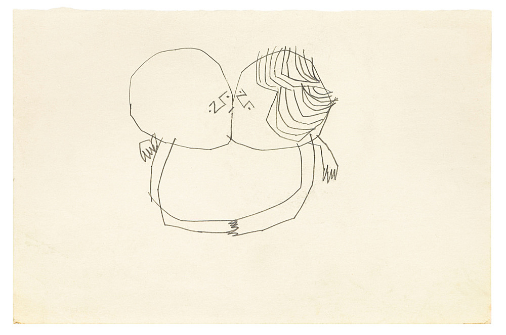 "Andy Warhol – ""Sprite Figures Kissing"", ca. 1951 graphite on paper 14.3 x 21.6 cm"