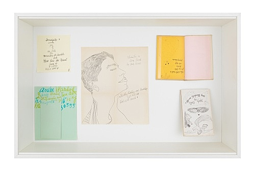 "Andy Warhol – ""Studies For a Boy Book (Bodley Gallery Announcement)"", ca. 1956 ""Calling Card (242 Lexington Ave.)"", 1959 ""Serendipity 3 Invitation to a tea party for Mercedes de Acosta's book Here Lies the Heart"", 1960 & ""Holy Cats by Andy Warhol's Mother"", ca. 1960 complete set of 21 photolithographs including the cover on various colored wove papers, the full sheets, bound (as issued) 23.3 x 15 cm installation view Galerie Buchholz, Berlin 2019"