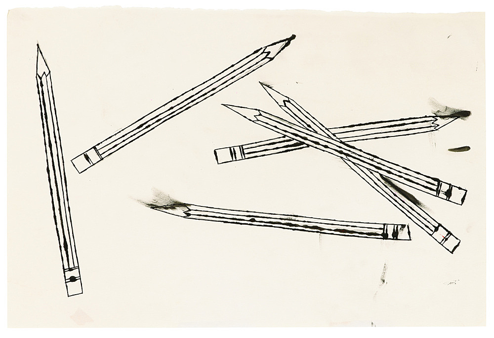 "Andy Warhol – ""Pencils"", ca. 1956 ink on paper 30.6 x 45.4 cm"