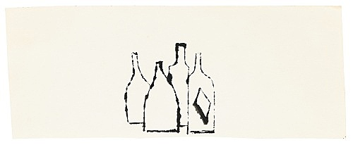 "Andy Warhol – ""Bottles"", ca. 1954 ink on paper 9.6 x 25 cm"