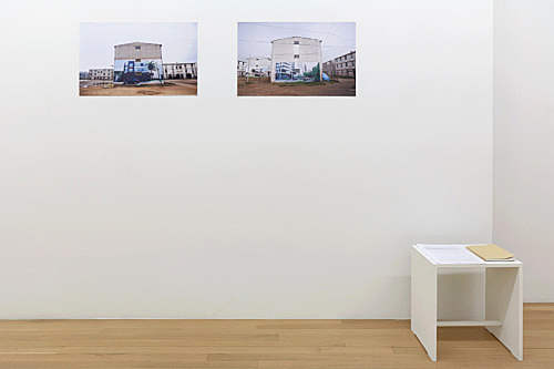 "Daniela Ortiz – ""1st of May Camp"", 2012 c-print 40.5 x 70 cm & ""97 House Maids"", 2010 artist book installation view Galerie Buchholz, New York 2019"