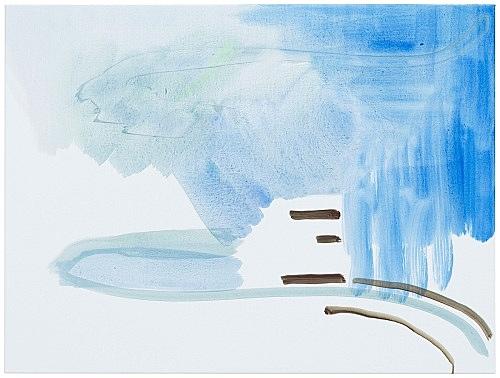 """Michael Krebber – """"ohne Titel (Wirklichkeit erschlägt Kunst) 1"""", 2019 acrylic on canvas 76 x 101.5 cm"""