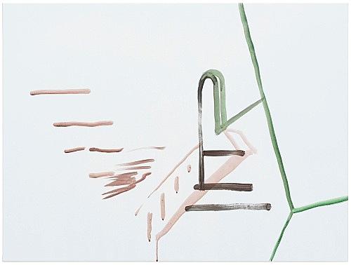 """Michael Krebber – """"ohne Titel (Wirklichkeit erschlägt Kunst) 2"""", 2019 acrylic on canvas 76 x 101.5 cm"""