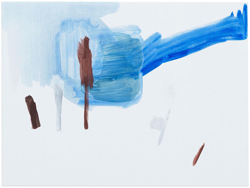 """Michael Krebber – """"ohne Titel (Wirklichkeit erschlägt Kunst) 3"""", 2019 acrylic on canvas 76 x 101.5 cm"""