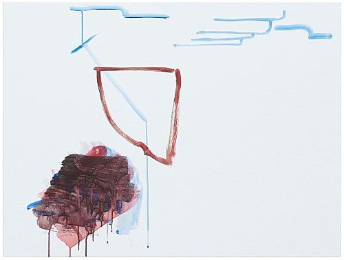 """Michael Krebber – """"ohne Titel (Wirklichkeit erschlägt Kunst) 5"""", 2019 acrylic on canvas 76 x 101.5 cm"""
