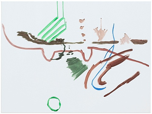 """Michael Krebber – """"ohne Titel (Wirklichkeit erschlägt Kunst) 6"""", 2019 acrylic on canvas 76 x 101.5 cm"""