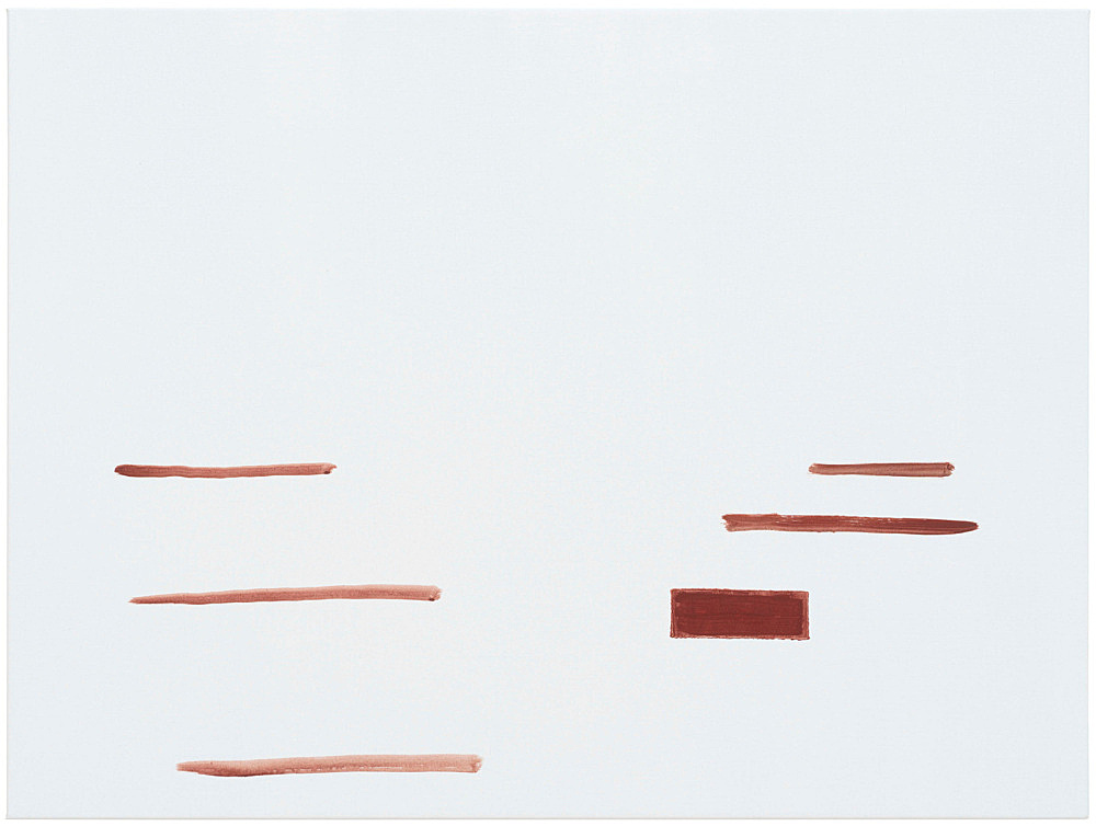 """Michael Krebber – """"ohne Titel (Wirklichkeit erschlägt Kunst) 10"""", 2019 acrylic on canvas 76 x 101.5 cm"""