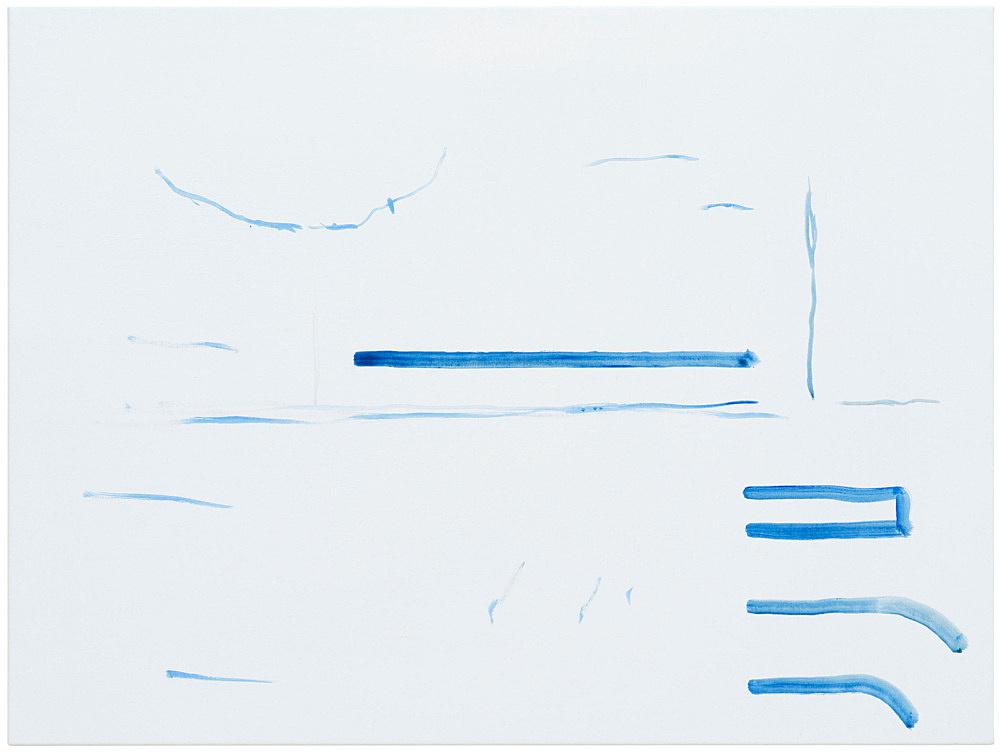 """Michael Krebber – """"ohne Titel (Wirklichkeit erschlägt Kunst) 11"""", 2019 acrylic on canvas 76 x 101.5 cm"""