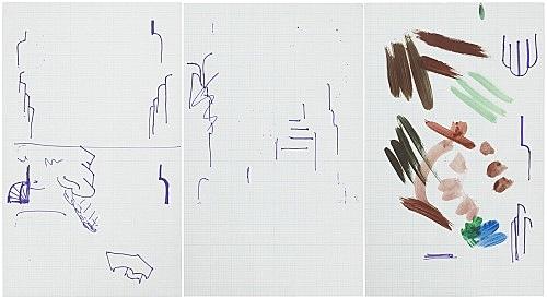 """Michael Krebber – """"ohne Titel (Wirklichkeit erschlägt Kunst) 12"""", 2019 mixed media on graph paper 3 parts: each 35.5 x 21.5 cm"""