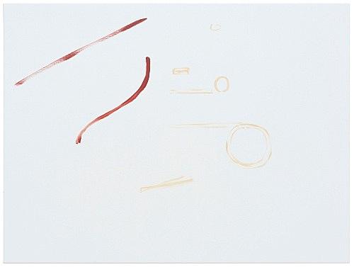 """Michael Krebber – """"ohne Titel (Kunst erschlägt Wirklichkeit)"""", 2019 acrylic on canvas 76 x 101.5 cm"""