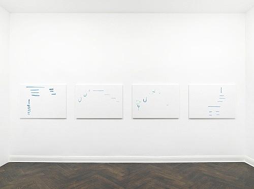 """Michael Krebber – """"ohne Titel (Wirklichkeit erschlägt Kunst) 19"""", 2019 acrylic on canvas 4 parts: each 76 x 101.5 cm installation view Galerie Buchholz, Berlin 2019"""