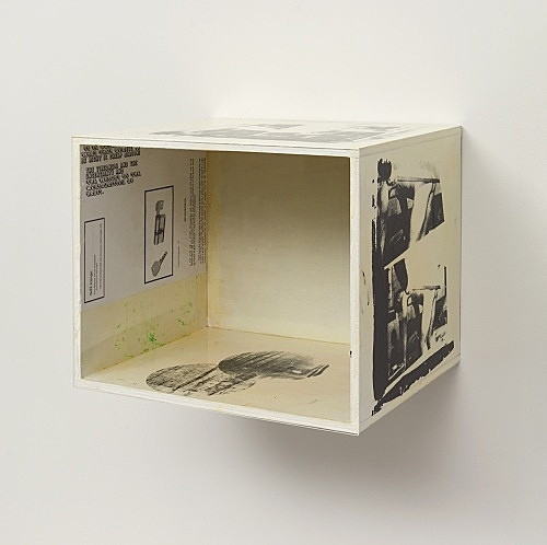"Henrik Olesen – ""Festival of the Unconscious: Roger Gilbert-Lecomte"", 2019 silkscreen on wood, acrylic, lacquer, print on paper, plexiglas 32 x 39 x 32.5 cm"