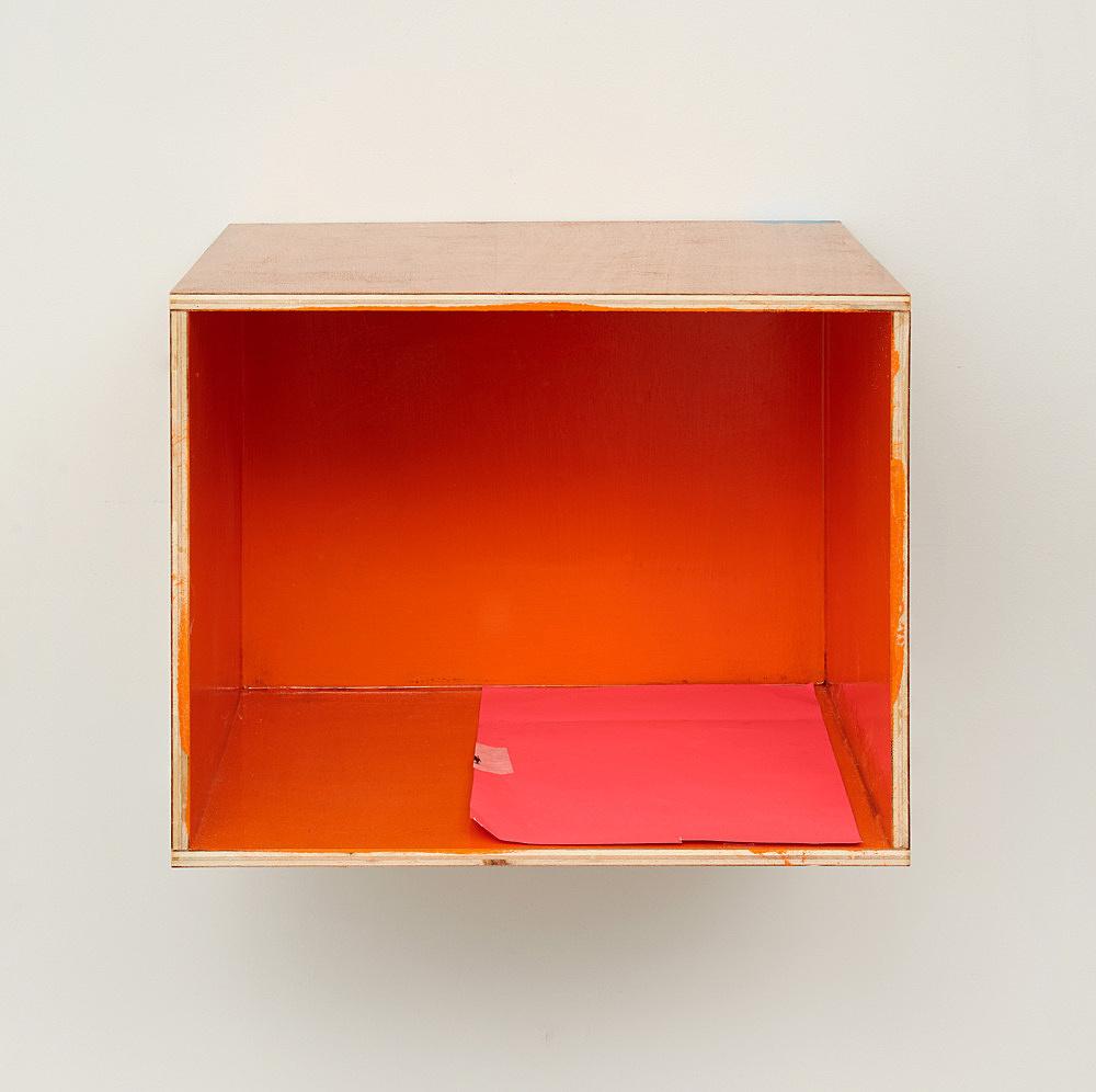 "Henrik Olesen – ""Festival of the Unconscious: Orange Wall"", 2019 wood, acrylic, lacquer, paper 32 x 39 x 32.5 cm"