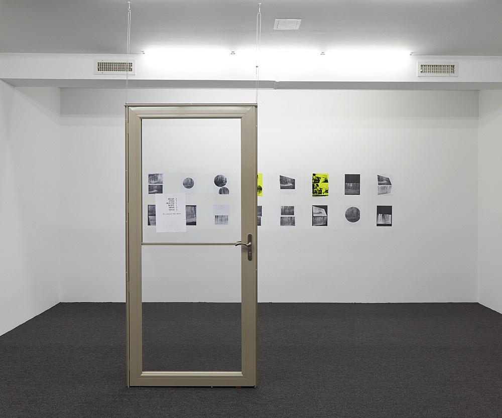 "Henrik Olesen – ""Door"", 2019 print on paper on metal door, hardware 203.2 x 94 x 7.6 cm & ""A Forest"", 2019 16 collages on paper, 2 silkscreens and 14 laserjet prints each 29.7 x 21 cm overall: 68.8 x 320 cm installation view Galerie Buchholz, New York 2019"