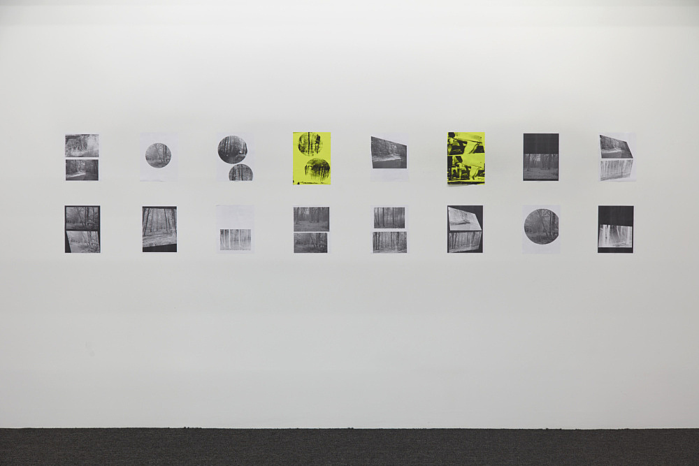 """Henrik Olesen – """"A Forest"""", 2019 16 collages on paper, 2 silkscreens and 14 laserjet prints each 29.7 x 21 cm overall: 68.8 x 320 cm installation view Galerie Buchholz, New York 2019"""