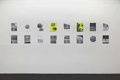 "Henrik Olesen – ""A Forest"", 2019 16 collages on paper, 2 silkscreens and 14 laserjet prints each 29.7 x 21 cm overall: 68.8 x 320 cm installation view Galerie Buchholz, New York 2019"