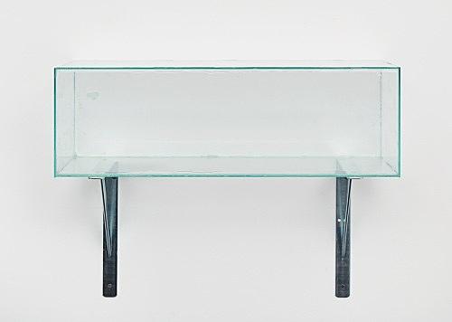 "Henrik Olesen – ""Glass Box Centered"", 2019 glass, silicone, glue, metal brackets 50 x 62 x 21 cm"