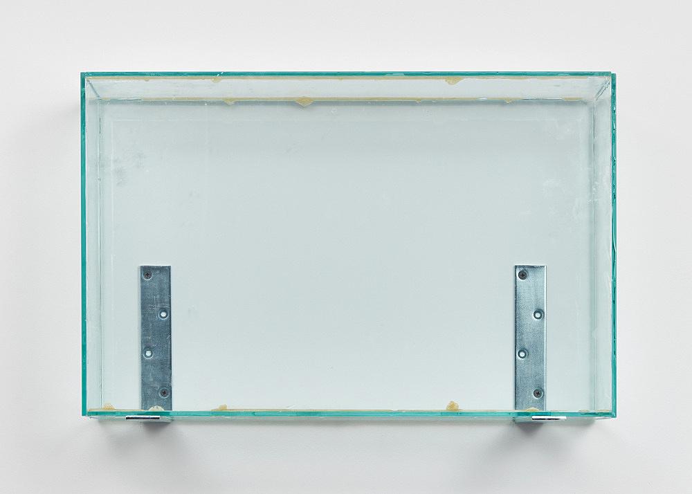 "Henrik Olesen – ""Glass Box High"", 2019 glass, glue, metal brackets 41.5 x 62 x 20 cm"