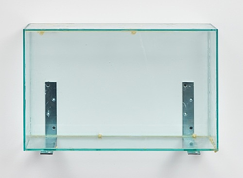 "Henrik Olesen – ""Glass Box Low"", 2019 glass, glue, metal brackets 40.5 x 62 x 20 cm"