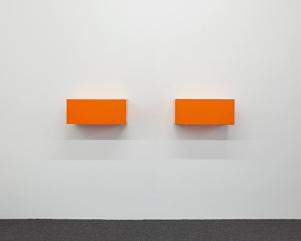 "Henrik Olesen – ""Madhouse"", 2019 glass, acrylic, glue, metal brackets 26 x 56.5 x 24.5 cm & ""Madhouse"", 2019 glass, acrylic, glue, metal brackets 26 x 56.5 x 24.5 cm installation view Galerie Buchholz, New York 2019"