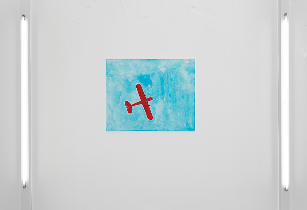 Mayo Thompson – Piper J-3 Cub, 2019 gouache and pencil on canvas 76.5 x 61 cm installation view Galerie Buchholz, Berlin 2019