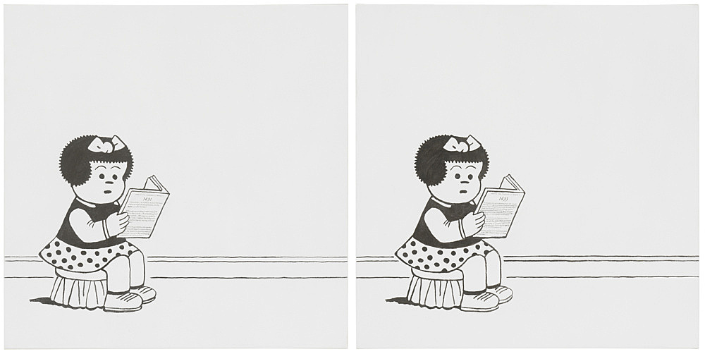 """Frances Stark – """"Reading about the Americas before and after Columbus in the 15th century"""", 2019 Sumi ink and gesso on canvas each part: 91.4 x 91.4 cm"""
