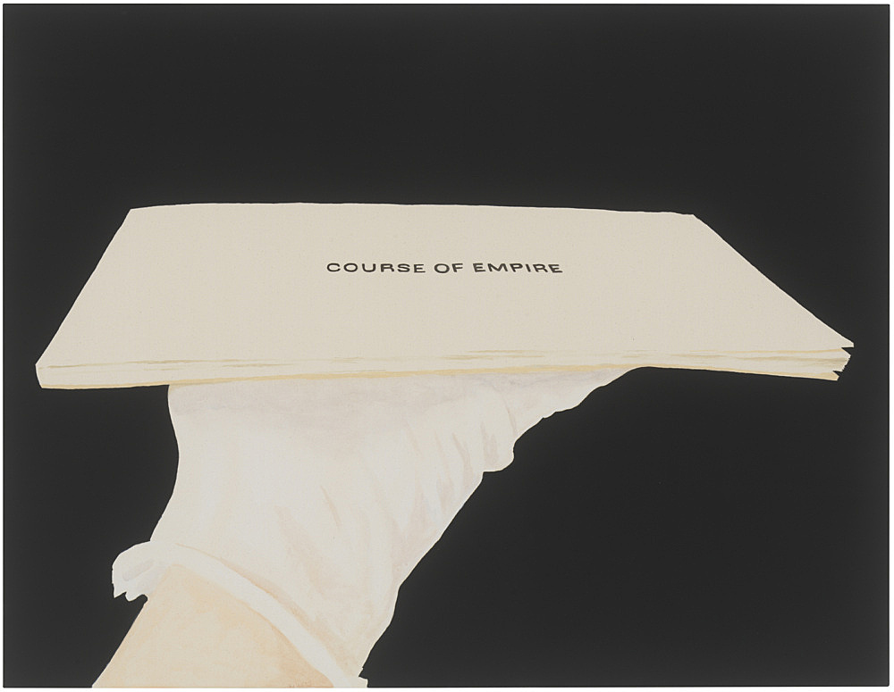 """Frances Stark – """"In a book commemorating Ed Ruscha's 2005 American Pavilion I contributed an essay (alongside Joan Didion no less!) entitled Always the Same, Always Different"""", 2019 Flashe, acrylic, gesso on canvas 112 x 145 cm"""