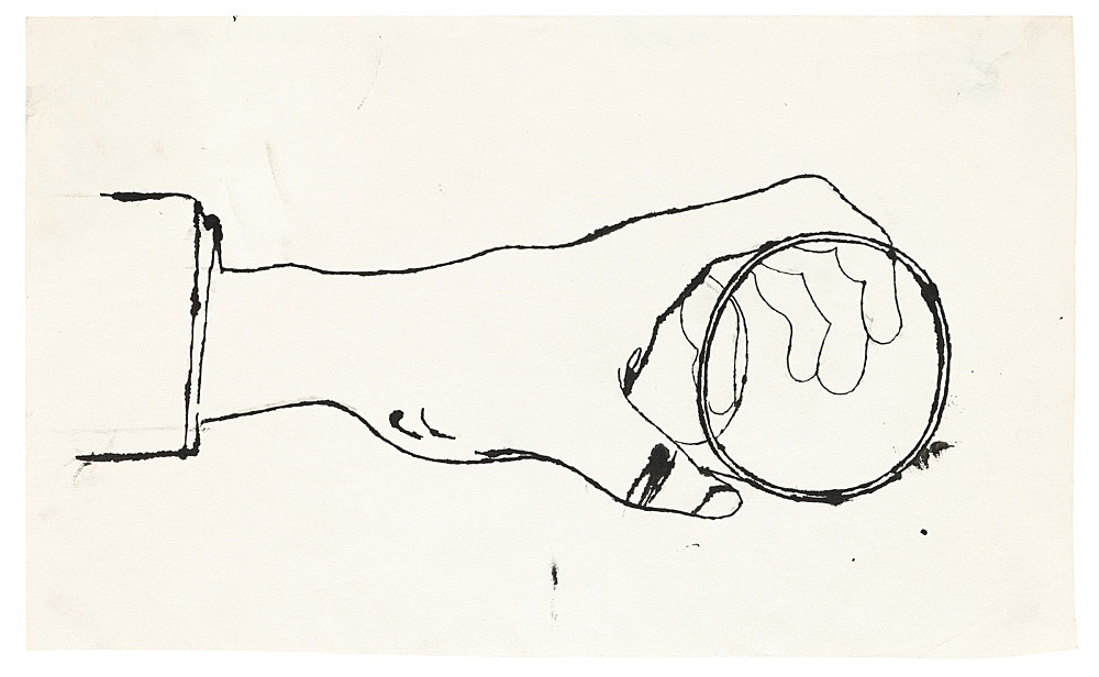 """Andy Warhol – """"Hand holding a Cup"""", ca. 1956 ink on paper 33 x 20 cm"""
