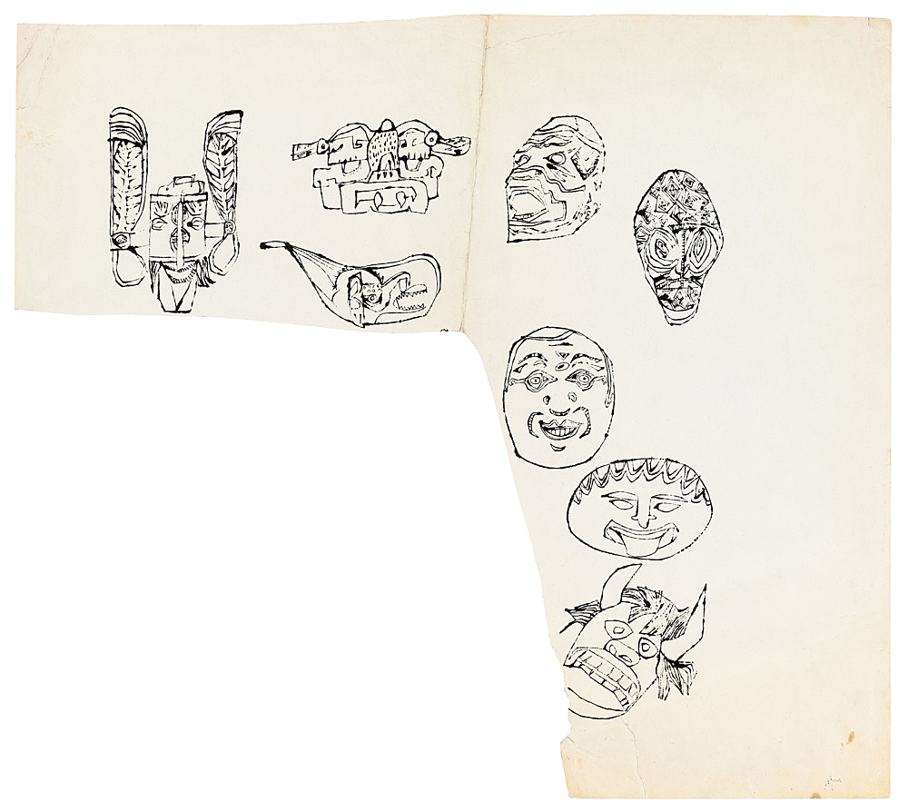"""Andy Warhol – """"Masks"""", ca. 1956 ink and tempera on paper 51.1 x 57.5 cm"""