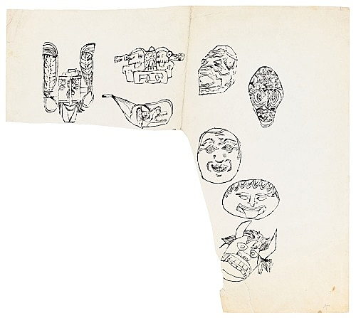 "Andy Warhol – ""Masks"", ca. 1956 ink and tempera on paper 51.1 x 57.5 cm"