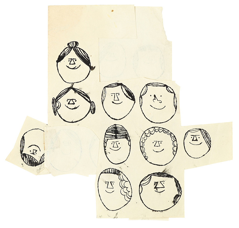 """Andy Warhol – """"Heads"""", ca. 1954 ink on paper, doublesided 29 x 30.2 cm"""
