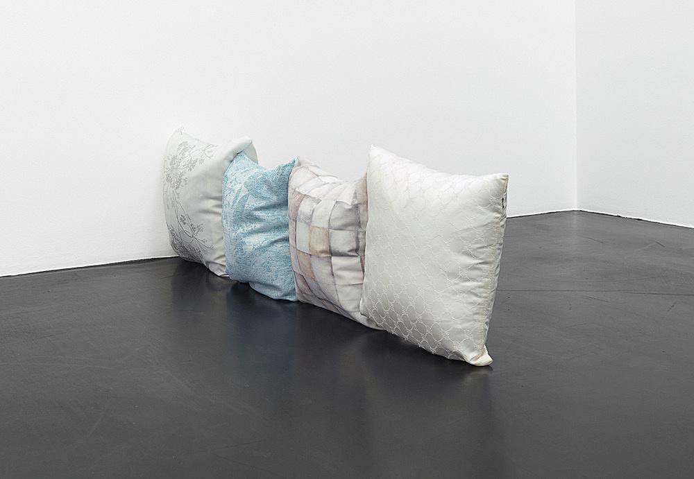 """Nicolas Ceccaldi – """"Eaux Saines"""", 2019 4 pillows 20 x 40 x 140 cm"""