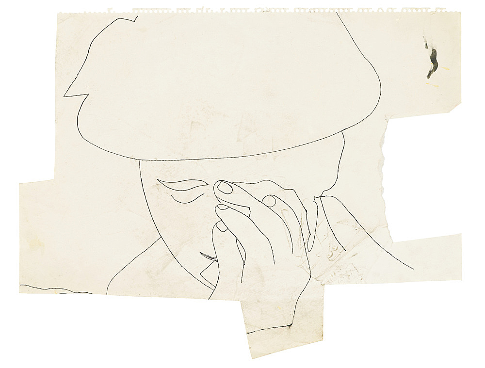 """Andy Warhol – """"Young Man"""", ca. 1953 ink on paper 36 x 45.2 cm"""