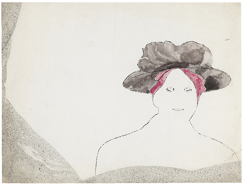 """Andy Warhol – """"Woman with Purple Hat (small)"""", ca. 1953 ink and tempera on paper 31.75 x 40 cm"""