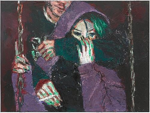 """Nicolas Ceccaldi – A Rose for a Rogue"""", 2018 oil on canvas 76 x 101.5 x 3.5 cm"""