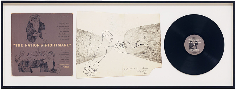 """Andy Warhol – """"The Nation's Nightmare"""", 1952 LP, drawing, and cover"""