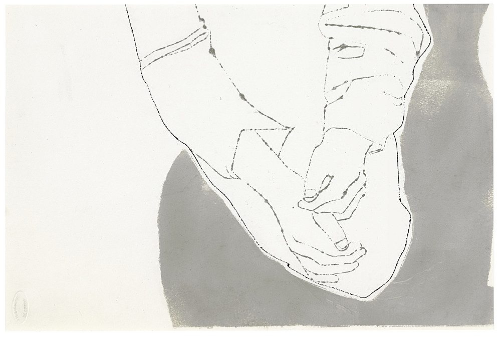 """Andy Warhol – """"Male Crossed Hands"""", ca. 1957 ink and tempera on paper 24 x 36 cm"""