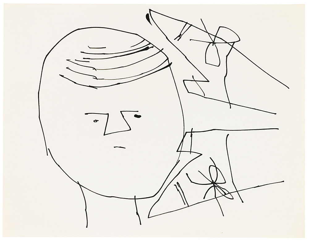 """Andy Warhol – """"Sprite Portrait with Shoes"""", ca. 1953 ink on paper 27.8 x 21.5 cm"""