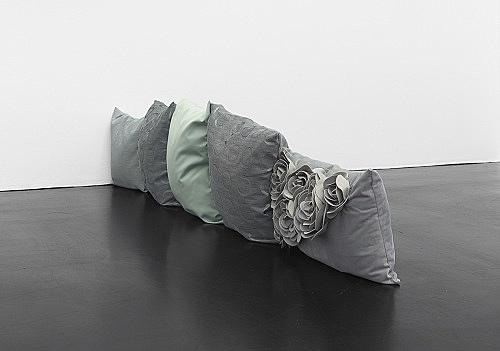 """Nicolas Ceccaldi – """"Eaux Saines"""", 2019 5 pillows 26 x 41 x 192 cm"""