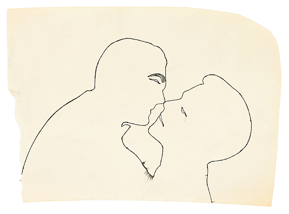 """Andy Warhol – """"Kissing Couple"""", ca. 1954 ink on paper 16.8 x 23.5 cm"""