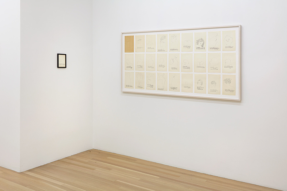 """Andy Warhol – """"a is an alphabet by Corkie & Andy"""", 1952 26 offset prints each 24 x 15,5 cm & """"A is an Alphabet"""", 1953 offset lithograph and graphite on paper 17.8 x 12.4 cm installation view Galerie Buchholz, New York 2019"""