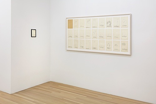 "Andy Warhol – ""a is an alphabet by Corkie & Andy"", 1952 26 offset prints each 24 x 15,5 cm & ""A is an Alphabet"", 1953 offset lithograph and graphite on paper 17.8 x 12.4 cm installation view Galerie Buchholz, New York 2019"